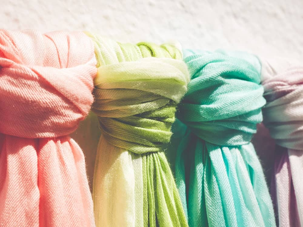 Pashmina scarves in a market