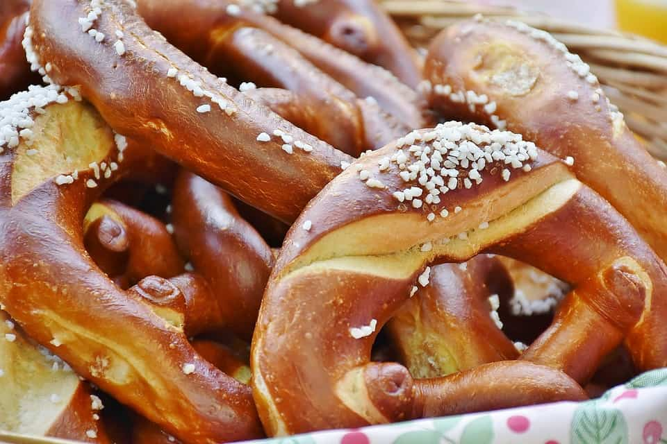 Pretzels made from leavened dough