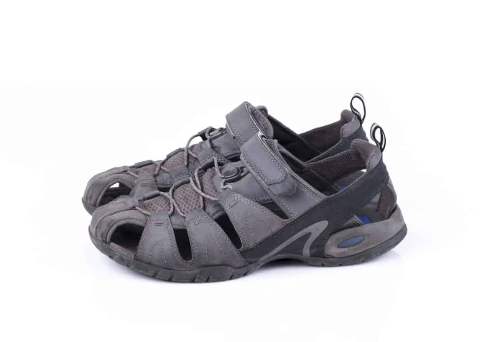 A Gray-and-Black Sports Sandal Shoe