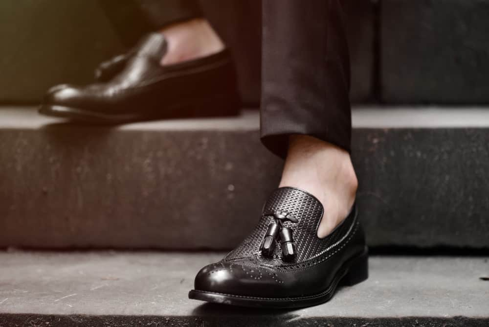 Black Tassel Loafers on Stairs