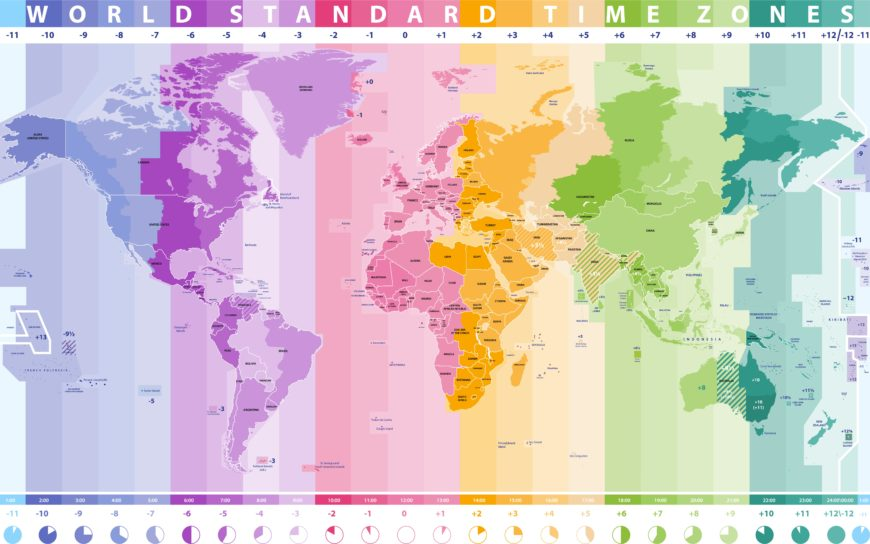 Start time zone map of the world