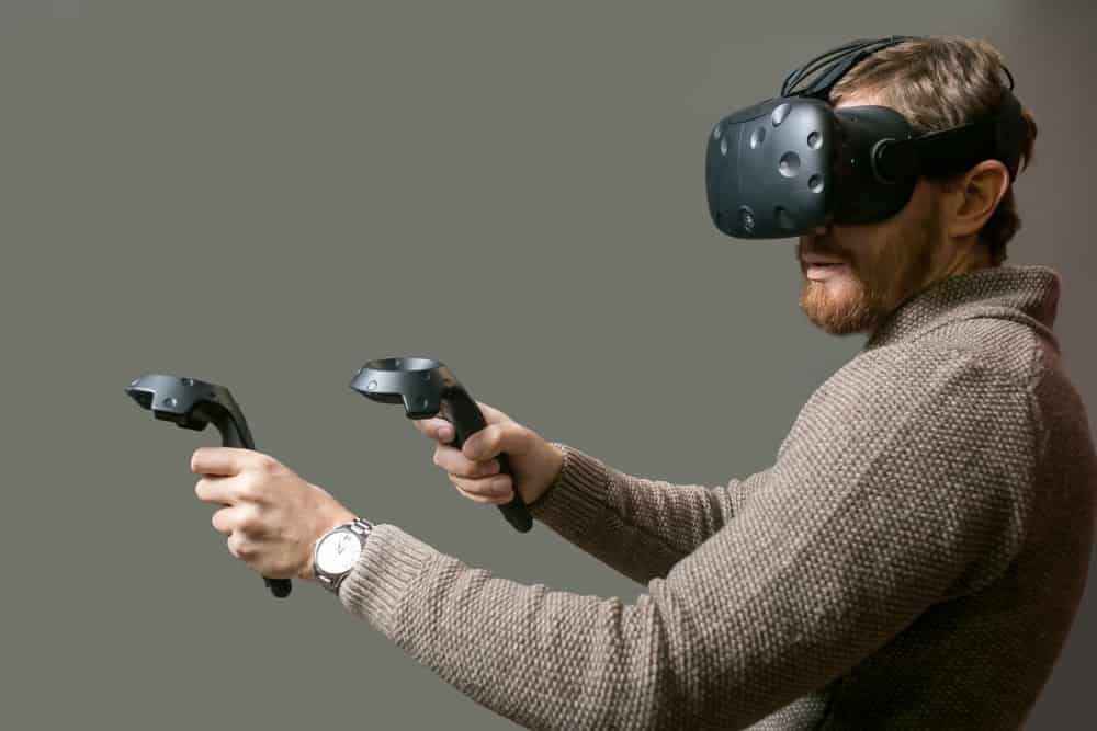 Man playing a VR game.