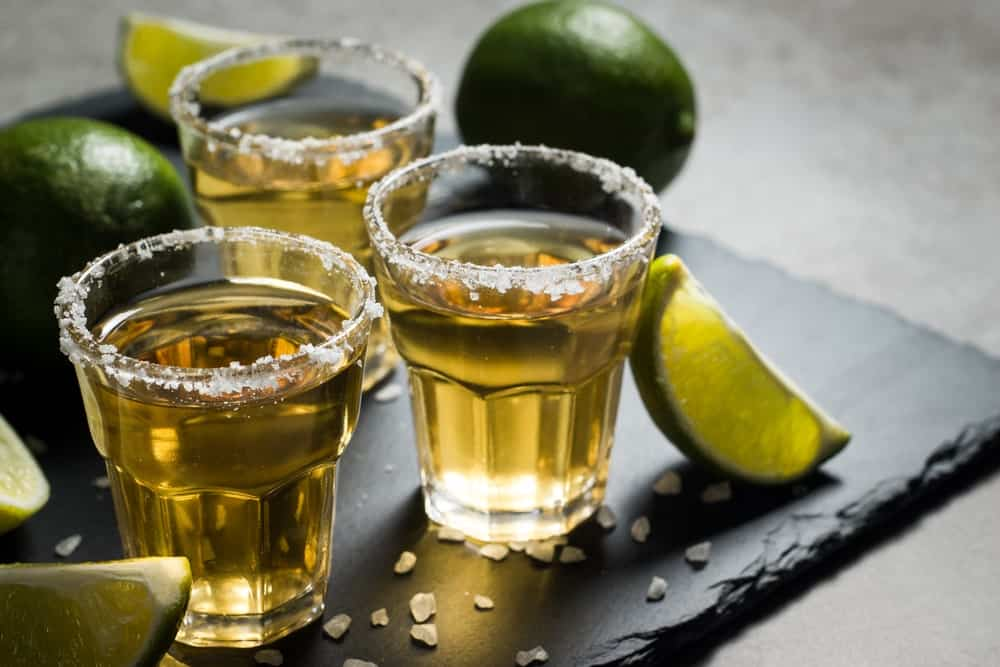 Shots of gold Tequila