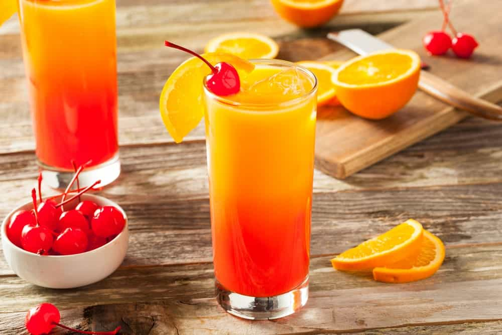 Colorful Tequila Sunrise drink