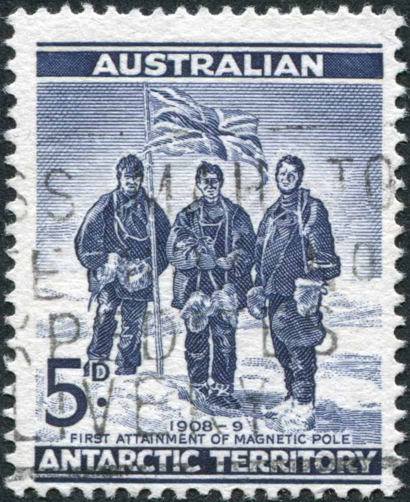 An Australian stamp depicting Edgeworth David, Douglas Mawson and A. F. McKay on their 1908-09 South Pole Expedition.