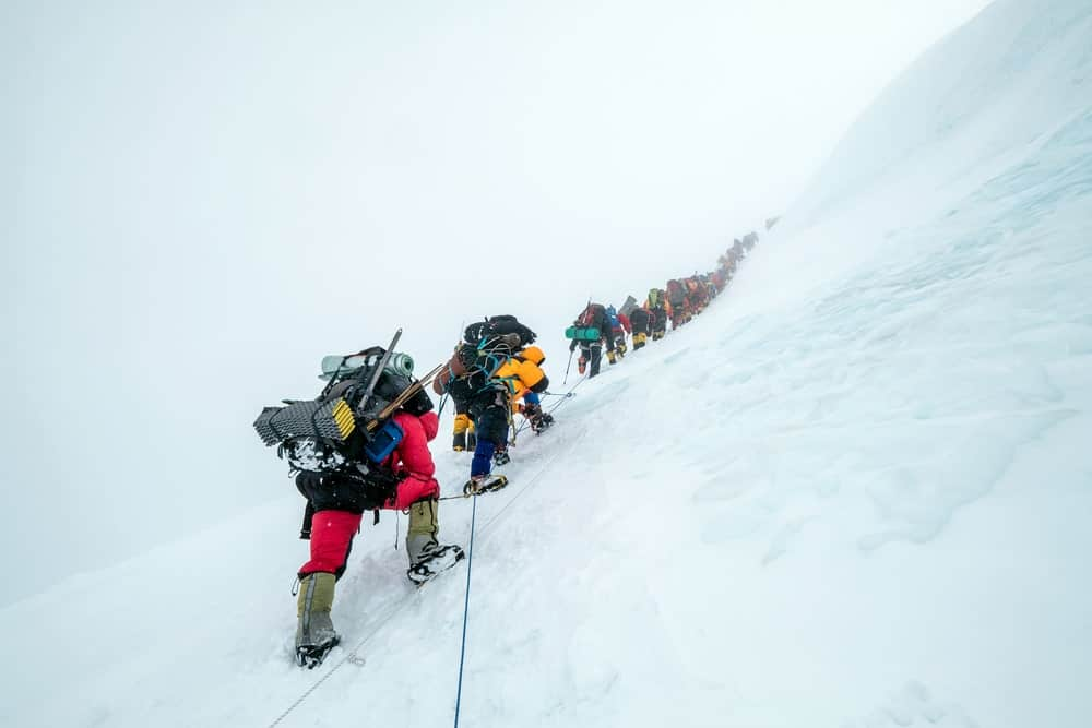 Climbers on the trail to the top of Mount Everest.