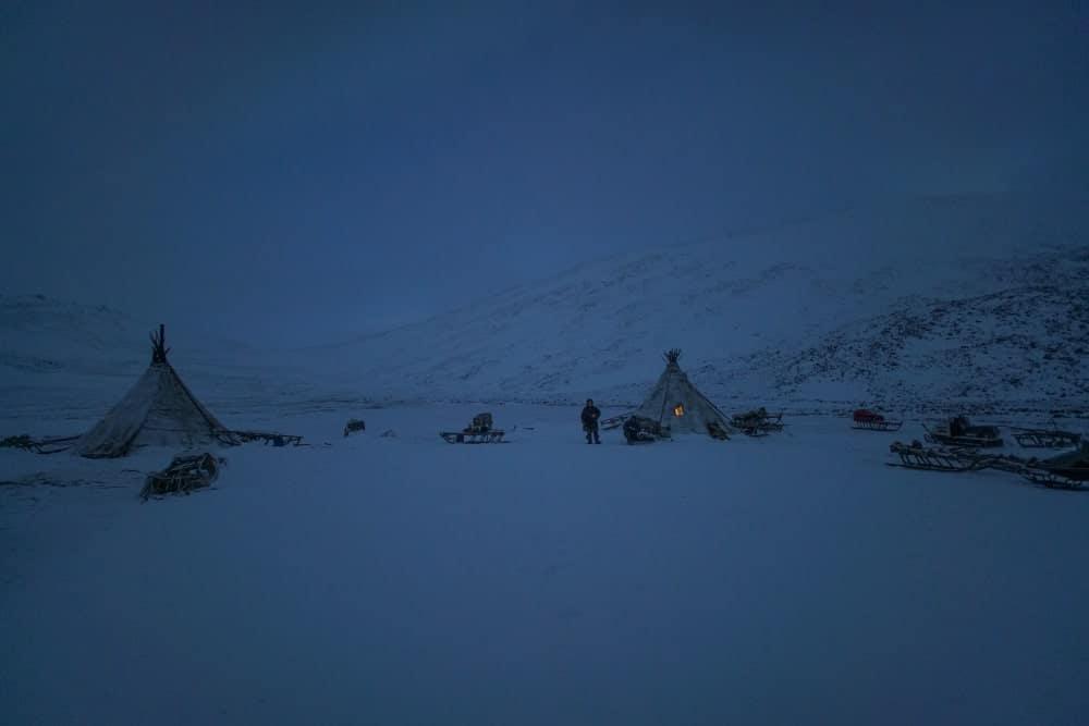 Yurts in the Siberian taiga at night.