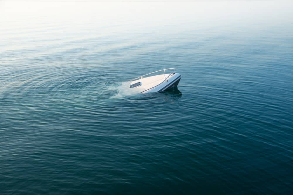 A boat sinking.