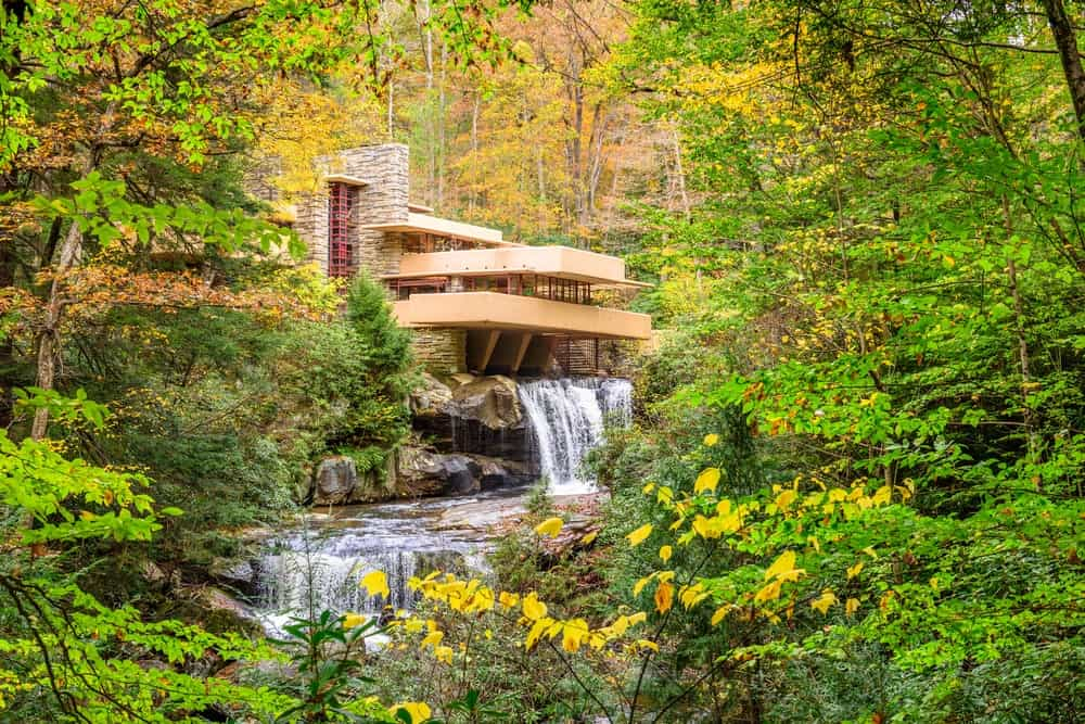 Fallingwater over Bear Run waterfall in the Laurel Highlands of the Allegheny Mountains.