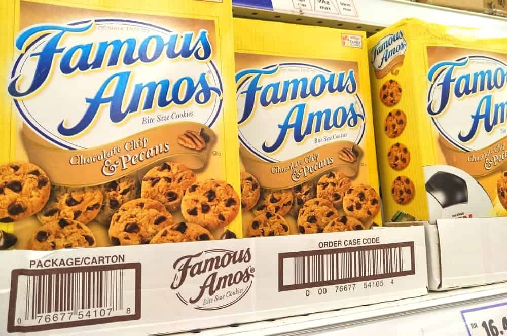Famous Amos cookies on the supermarket shelves.