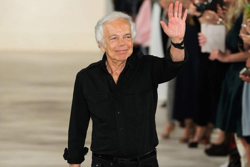 Designer Ralph Lauren greets the audience during Mercedes-Benz Fashion Week Spring 2015 at Skylight Clarkson Sq on September 11, 2014 in New York City.