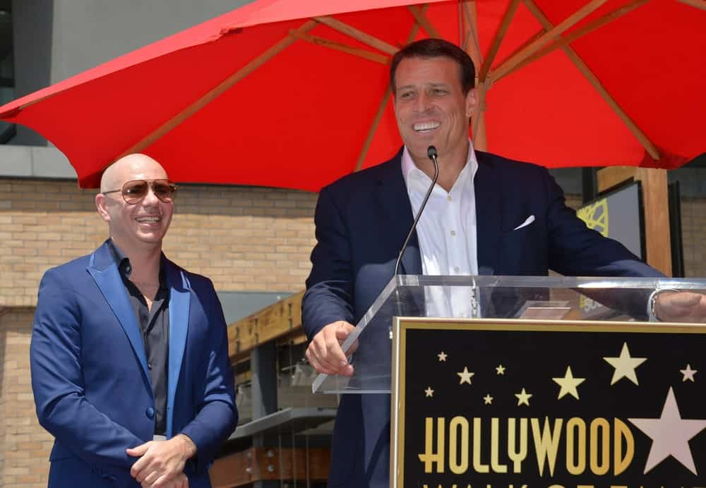 Singer Pitbull (Armando Christian Perez) with motivational speaker Tony Robbins on Hollywood Blvd where Pitbull was honored with the 2,584th star.