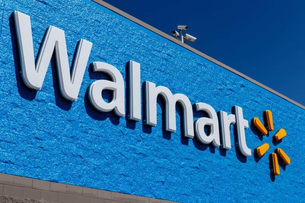 Walmart logo on a storefront.