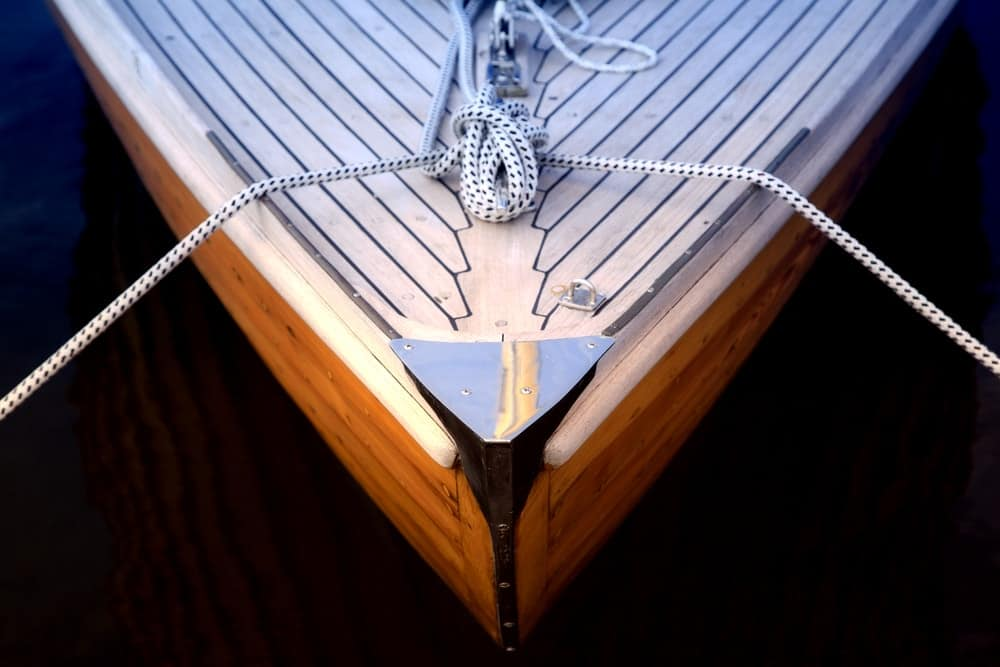 Bow of a sailboat.