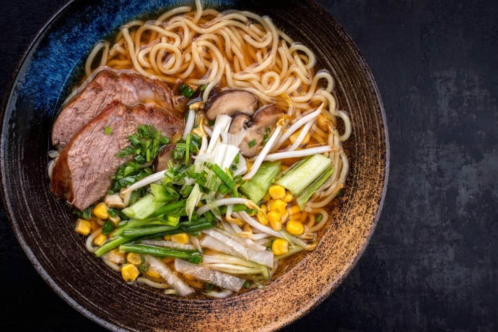 A bowl of shoyu ramen with toppings.