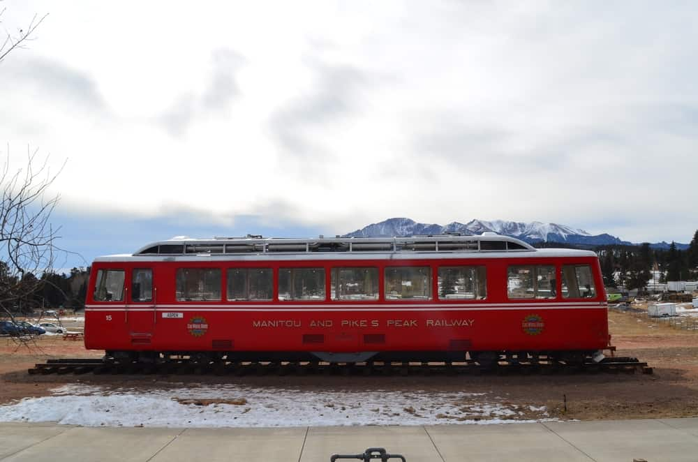 A focused look at the Downtown Rail Car that was serving the people and visitors of the Woodland Park for years, taking them to the top of the Pikes Peak by rail.