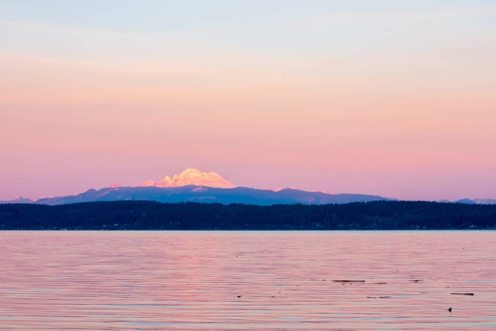 Sunset with a view of Mt. Baker.