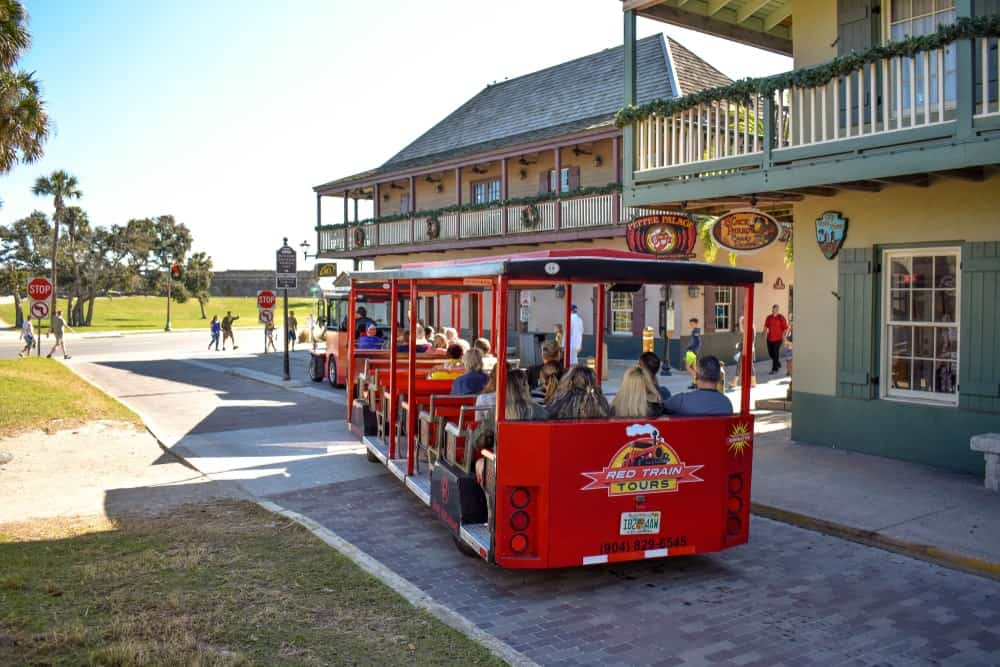 Here's a look at one of the Red Trains touring the various historical sites of St. Augustine. It is a popular choice to ride for history lovers guests!