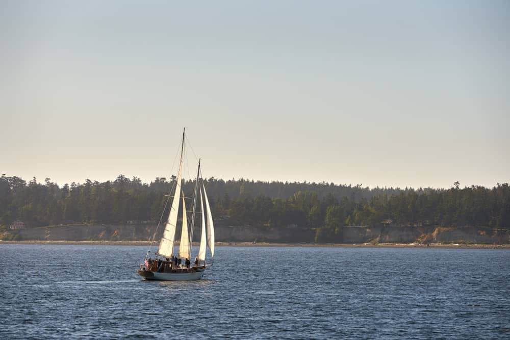 Schooner passing through Penn Cove.
