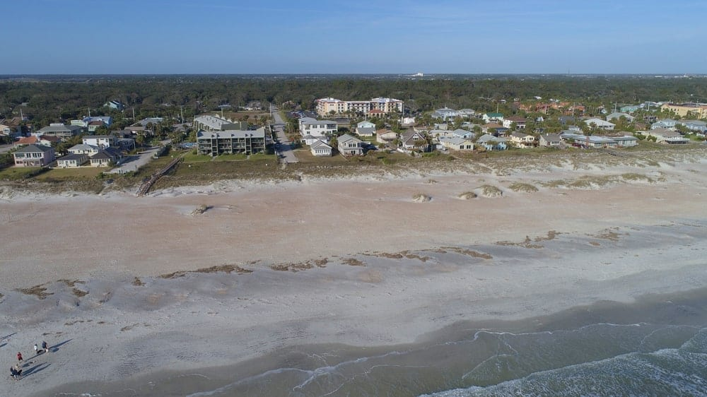 A look of the St. Augustine beach from the air. This beach is known for being one of the most pristine beaches on the east coast.