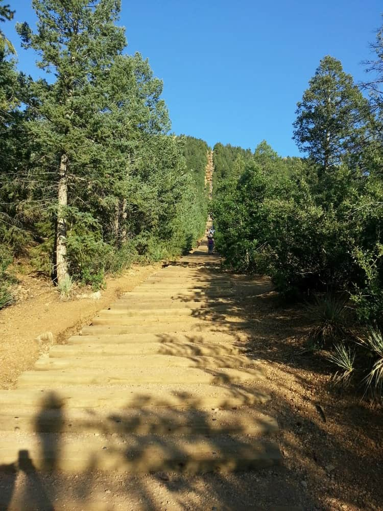 The Manitou Incline is a popular tourist destination in the city of Manitou Springs. It has an altitude gain of 2000 vertical feet.