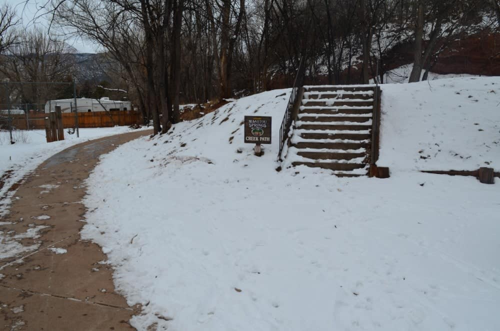 The Manitou Springs Creek Walk Trail is a lovely place for walking and biking especially during afternoon to evening where the view gets dramatic.