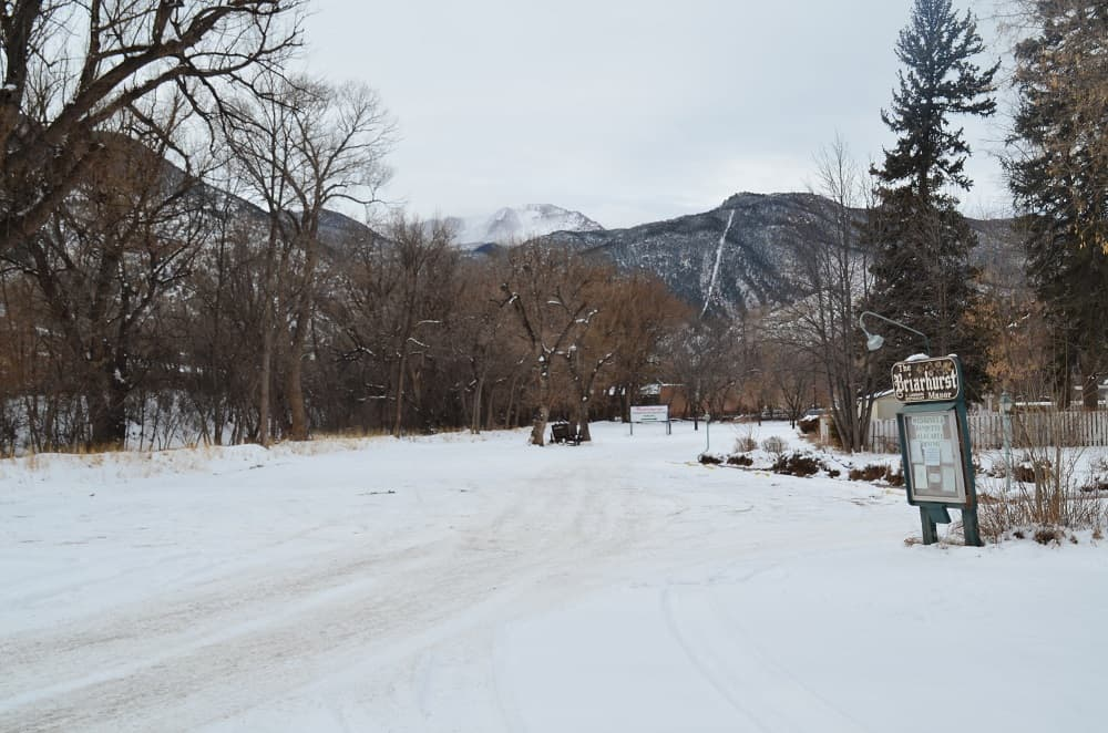 View of Pikes Peak from Briarhurst Manor 404 Manitou Ave.