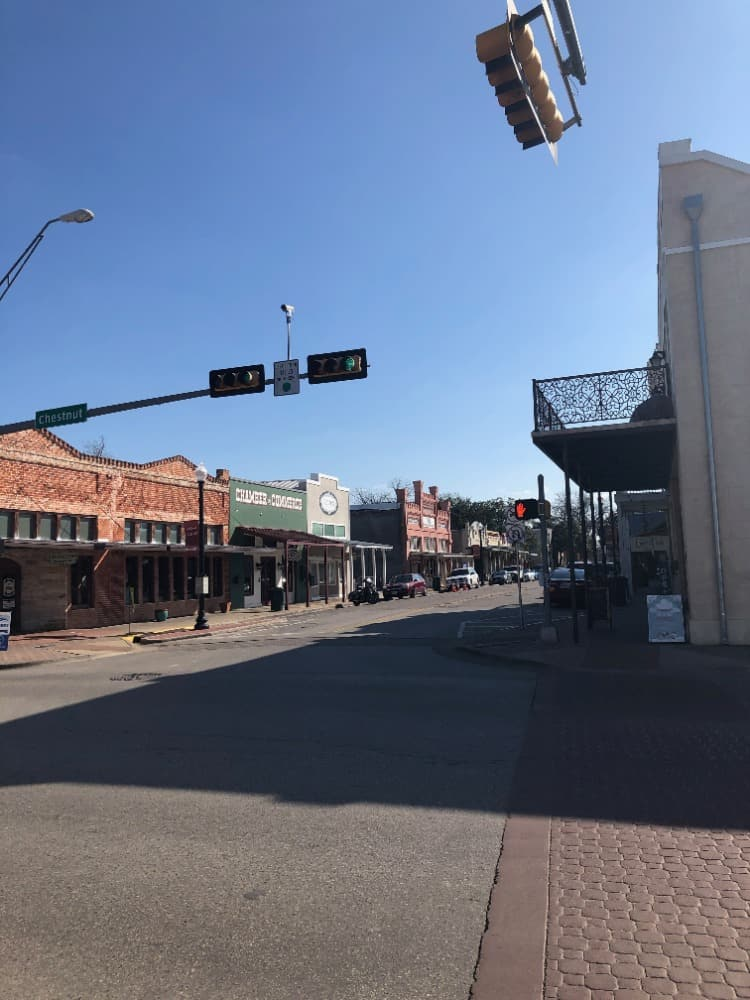Downtown Bastrop featuring both the vintage and restored buildings.