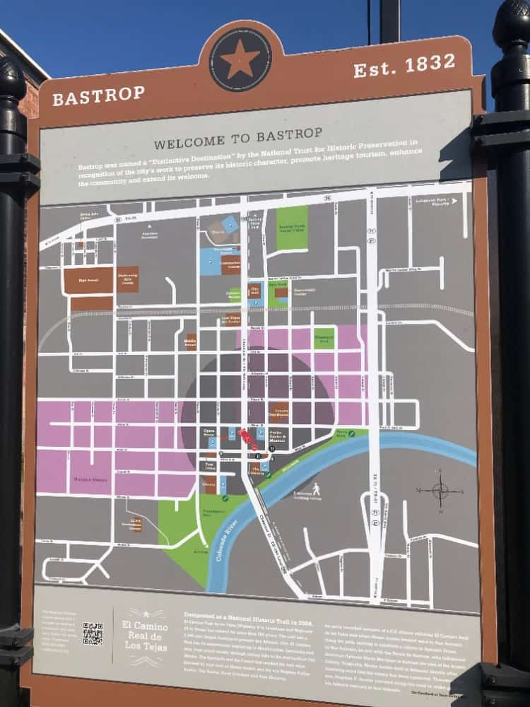 Here's an on-board map of Bastrop showing information about the area such as great destinations and parking areas.