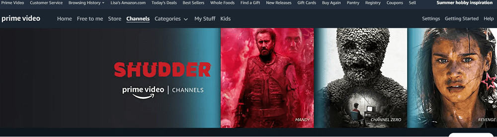 Shudder featured in Amazon Prime.