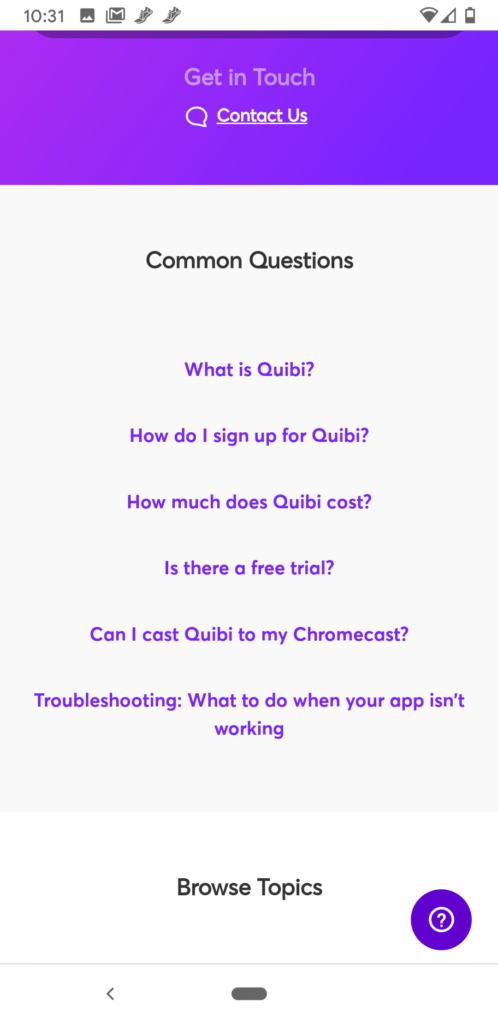 A screenshot of the Customer Support page on Quibi.