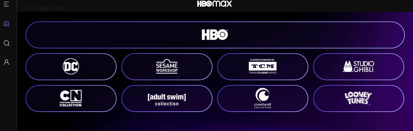 A screenshot of HBO Max Hubs selection.