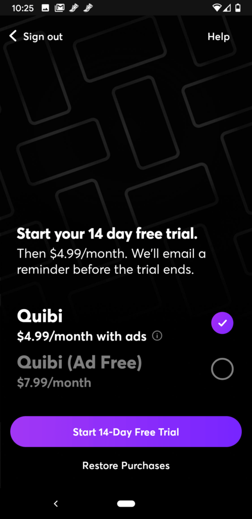 A screenshot of the Free Trial page on Quibi.