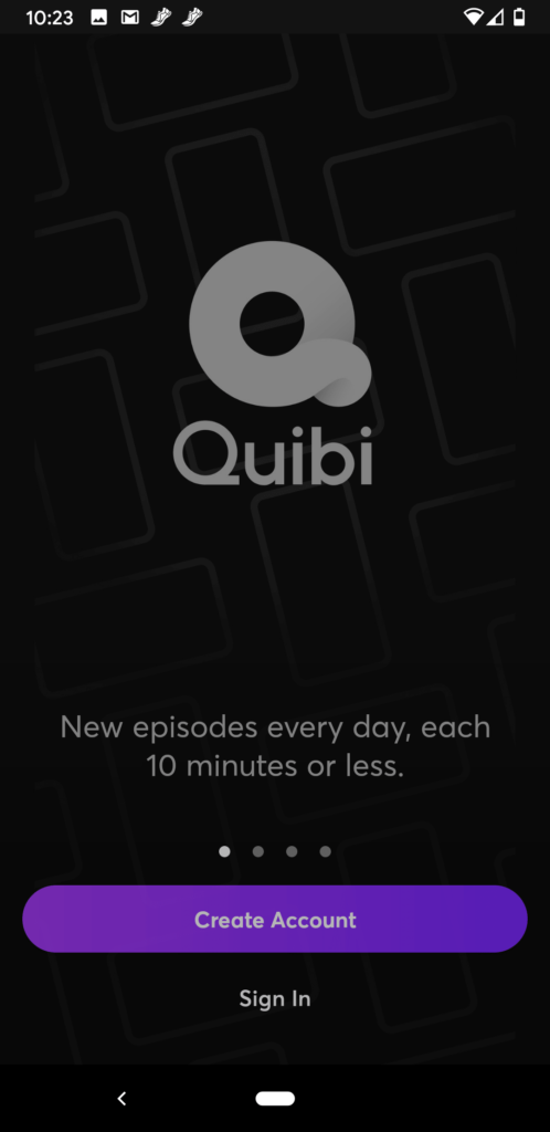 A screenshot of Quibi homescreen.