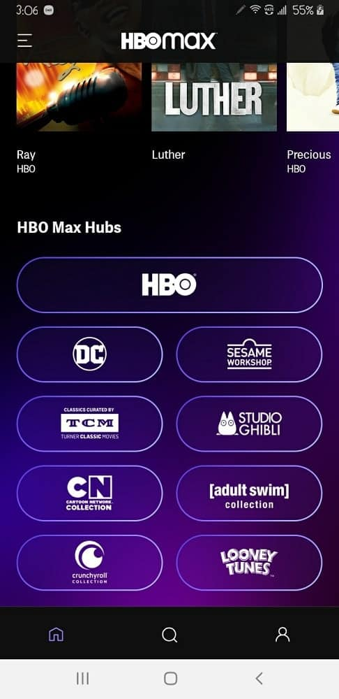 A browsing selection at the bottom of the homepage of HBO Max.