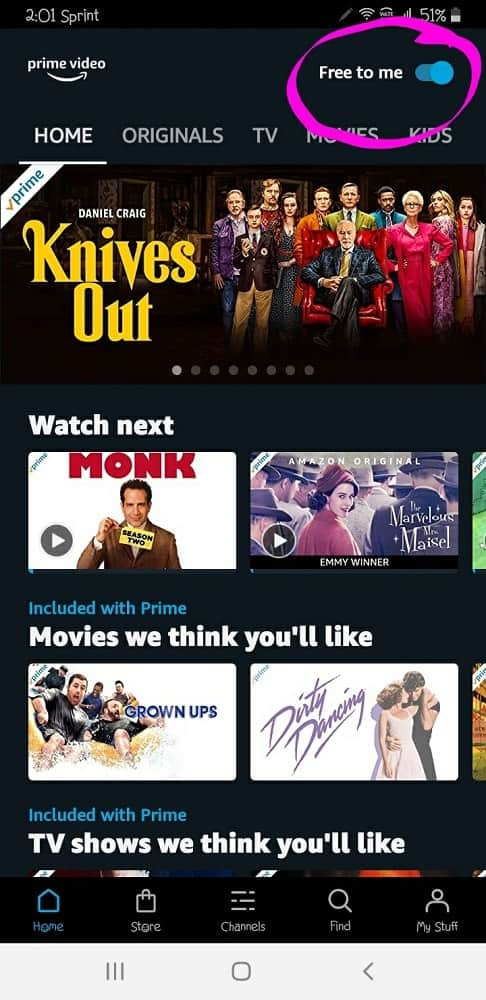 List of movies to watch next as well as suggestions at the home screen of Amazon Prime.