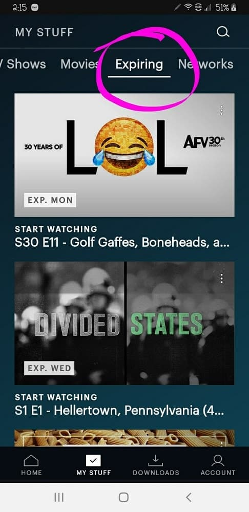 The Hulu page indicating the movies and shows in My List that are about to expire.