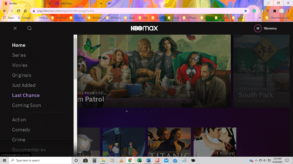The homepage of the streaming service HBO Max with a drop down category list on the side.