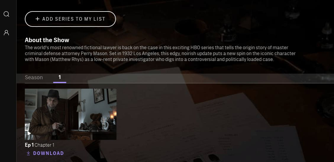 A screenshot of the HBO Max app.