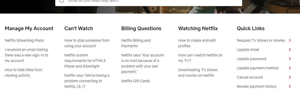 Customer Support menus and links of Netflix.