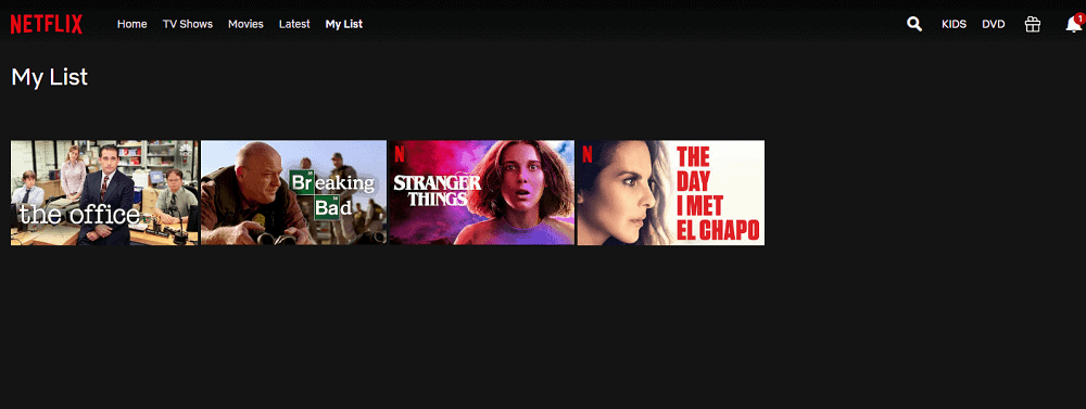 The My List page of Netflix in laptop view.
