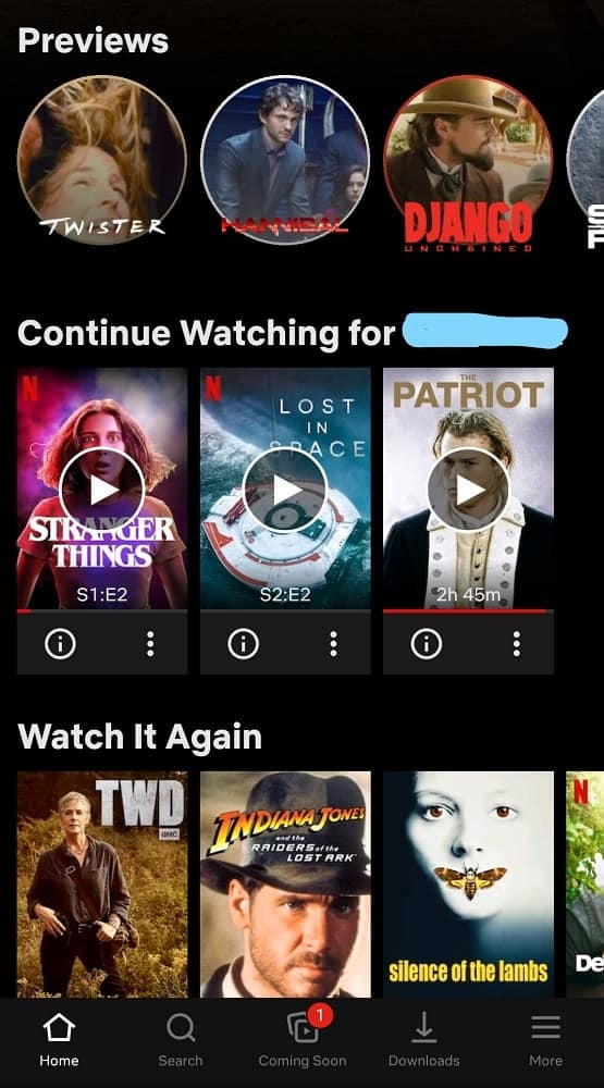The home screen of Netflix in mobile view.