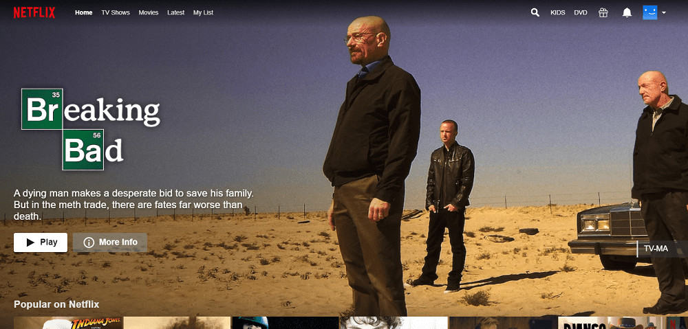 TV cast homepage of Netflix with a preview for Breaking Bad.