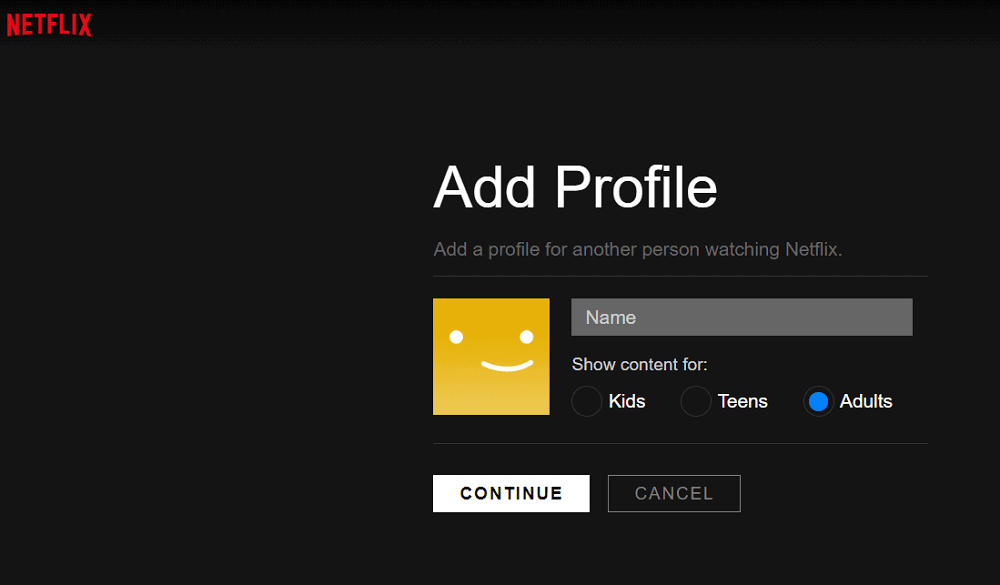 Netflix's page for adding profile.