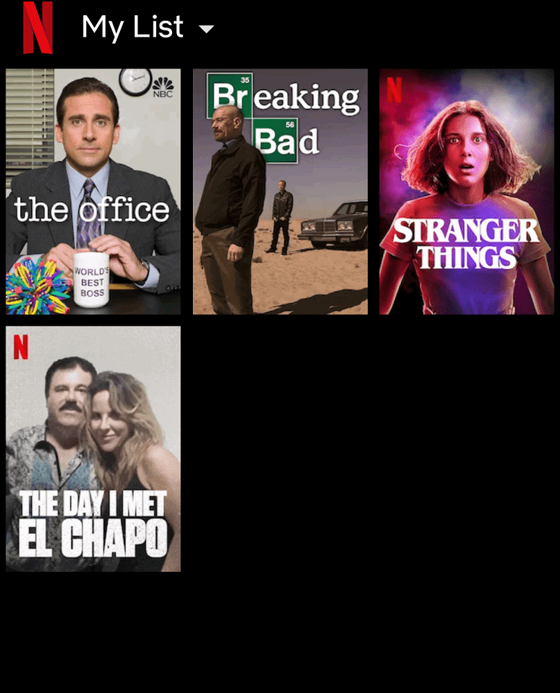 Netflix's Watch List page.