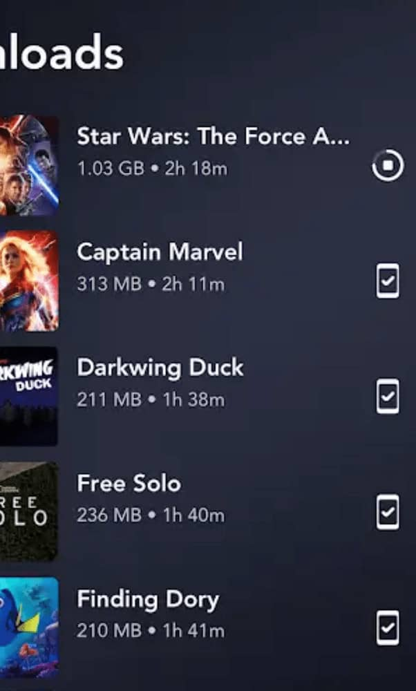 A screenshot of the downloads page of the Disney+ App.