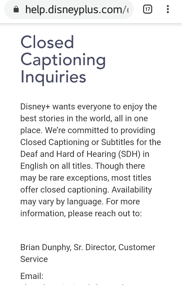 A page of the Disney+ help services regarding closed captioning.