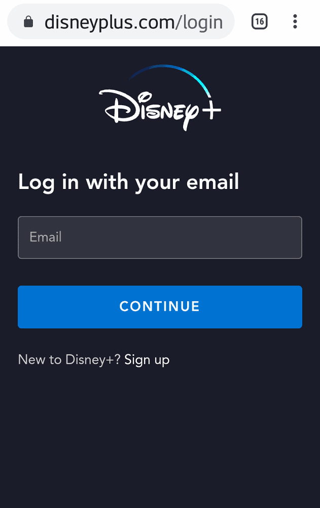A screenshot of the login page of the Disney+ App.
