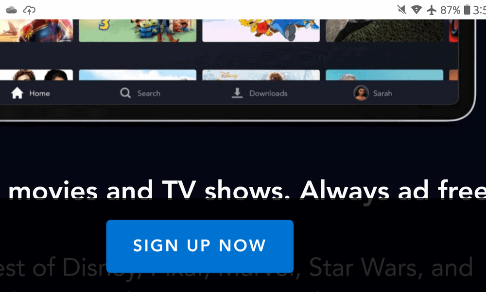 A close look at the sign up button of the Disney+ App.