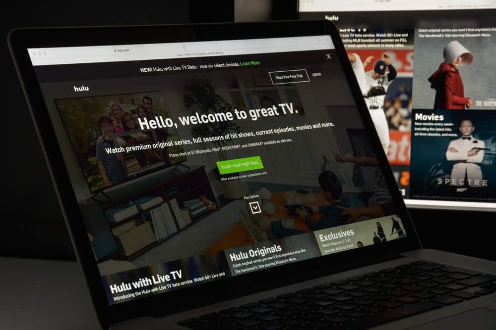 A laptop showing the Hulu streaming app.